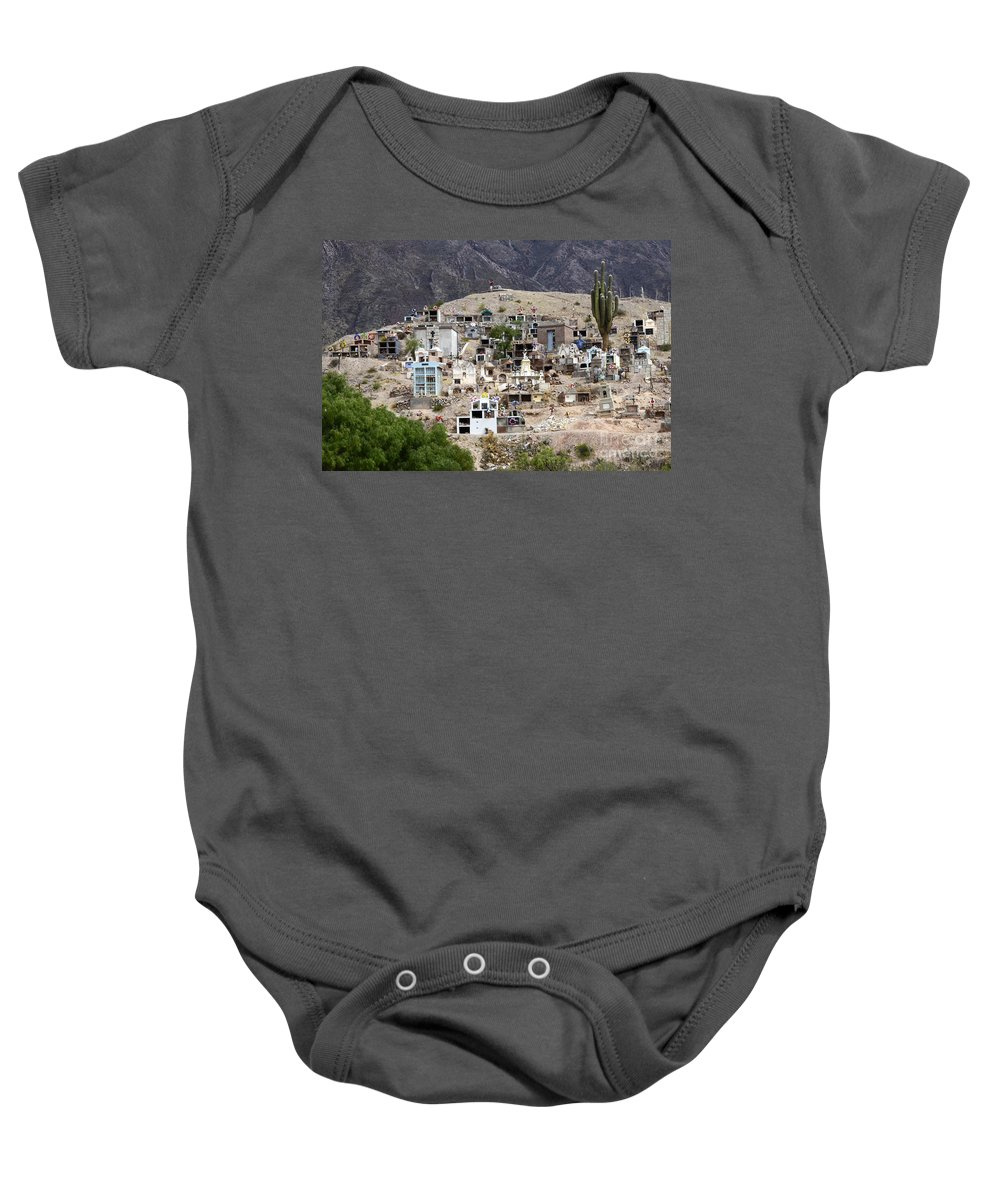 Cemetery Baby Onesie featuring the photograph Tombs And Crosses Maimara Argentina by Bob Christopher
