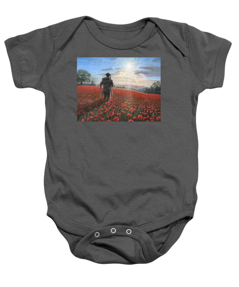 Landscape Baby Onesie featuring the painting Tommy by Richard Harpum