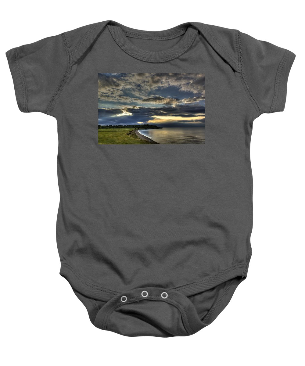 Tone Map Baby Onesie featuring the photograph Tone Map Hiding Sun by Tim Buisman