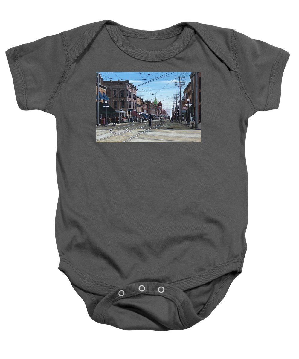 Streetscapes Baby Onesie featuring the painting Toronto Yonge And College 1916 by Kenneth M Kirsch