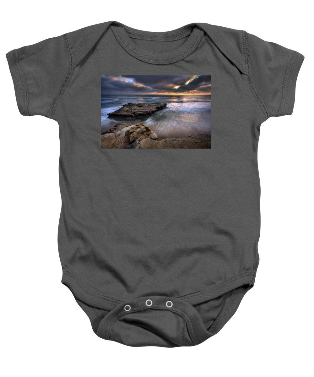 Beach Baby Onesie featuring the photograph Torrey Pines Flat Rock by Peter Tellone
