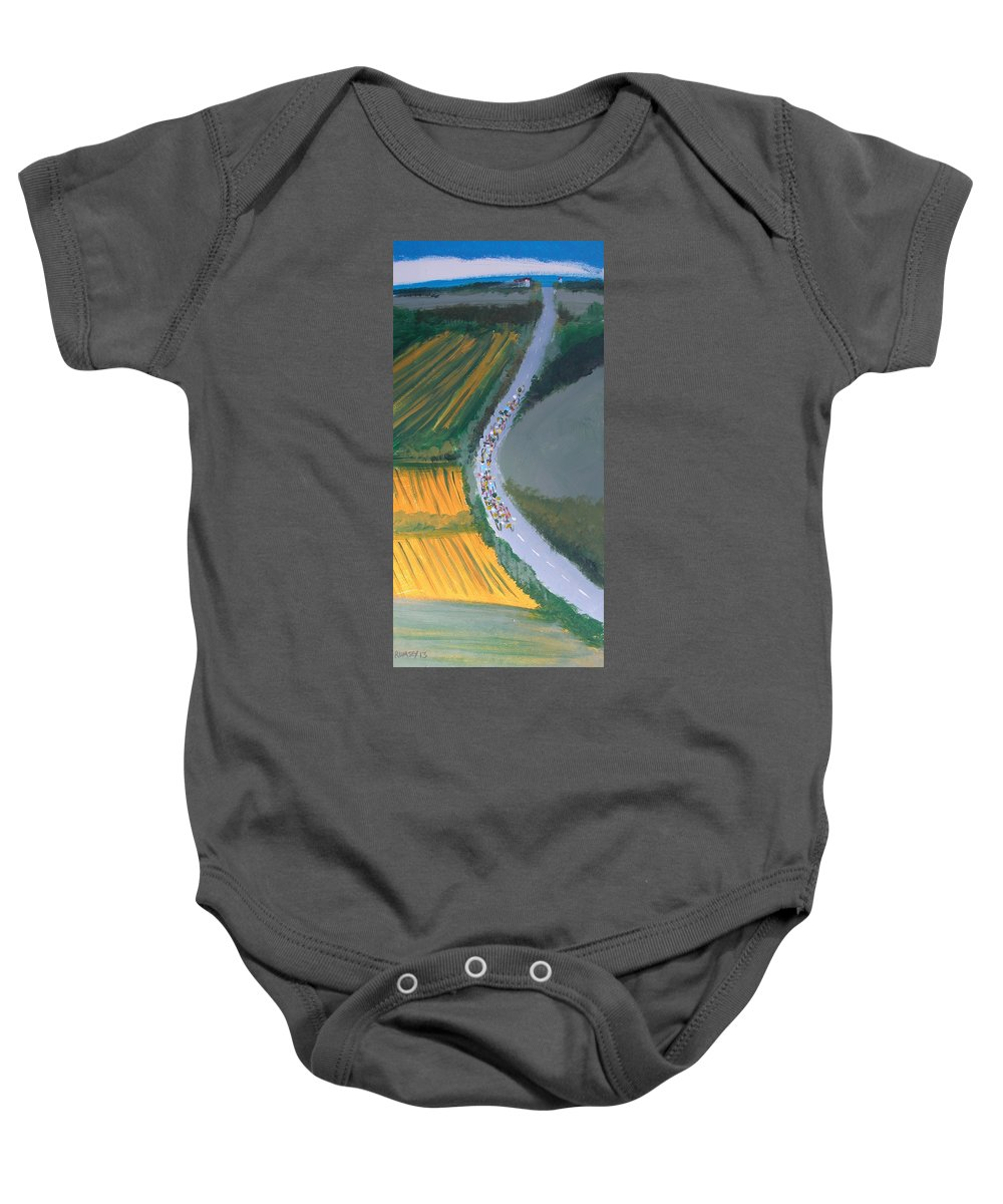 Tour De France Baby Onesie featuring the painting Tour De France 2 by Rhodes Rumsey
