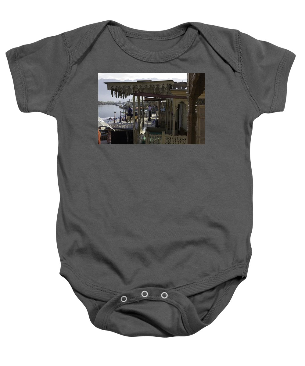 Beautiful Scene Baby Onesie featuring the photograph Tourists At The Front Section Of Houseboats Lined Up Along Dal Lake by Ashish Agarwal