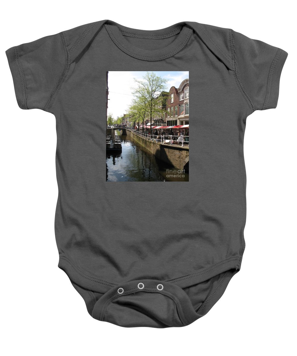Town Canal Baby Onesie featuring the photograph Town Canal - Delft by Christiane Schulze Art And Photography