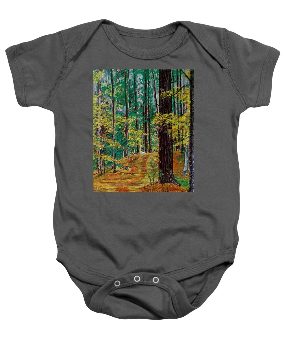 New Hampshire Baby Onesie featuring the pastel Trail At Wason Pond by Sean Connolly