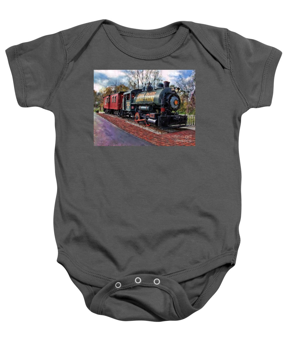 Photographer In North Ridgeville Baby Onesie featuring the photograph Train At Olmsted Falls - 1 by Mark Madere