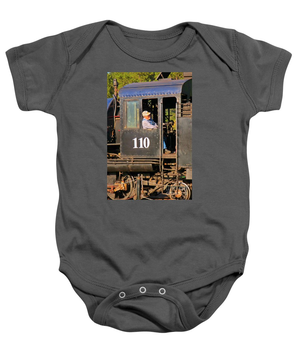 Train Art Baby Onesie featuring the photograph Train Conductor by John Malone