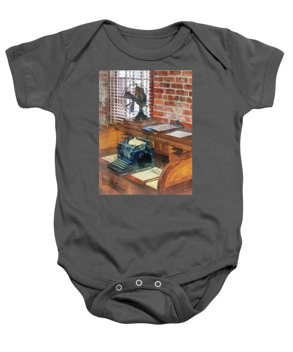 Typewriter Baby Onesie featuring the photograph Trains - Station Master's Office by Susan Savad