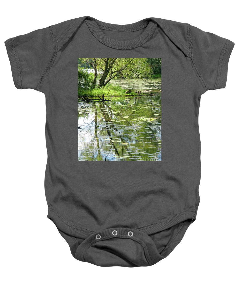 Reflection Baby Onesie featuring the photograph Tranquility by Ann Horn