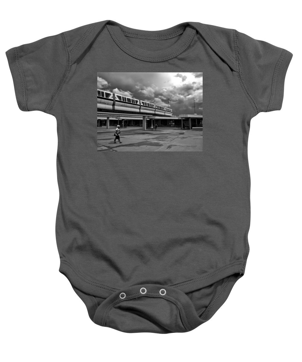 Black And White Baby Onesie featuring the photograph Transportation Station In Black And White Walt Disney World by Thomas Woolworth