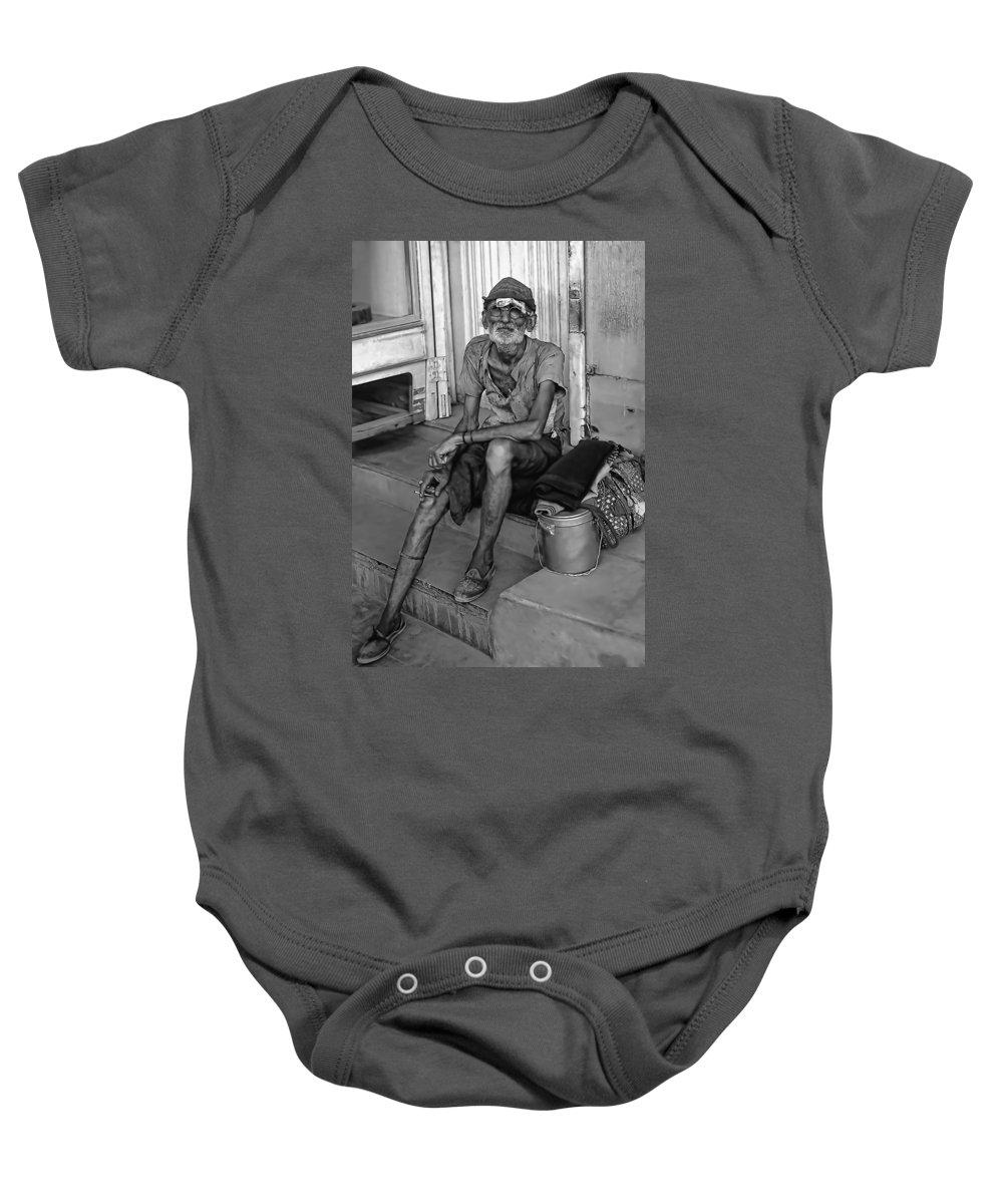 India Baby Onesie featuring the photograph Travelin' Man Monochrome by Steve Harrington