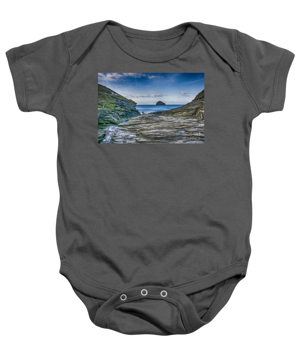 Cornwall Canvas Baby Onesie featuring the photograph Trebarwith Strand Cornwall by Chris Thaxter