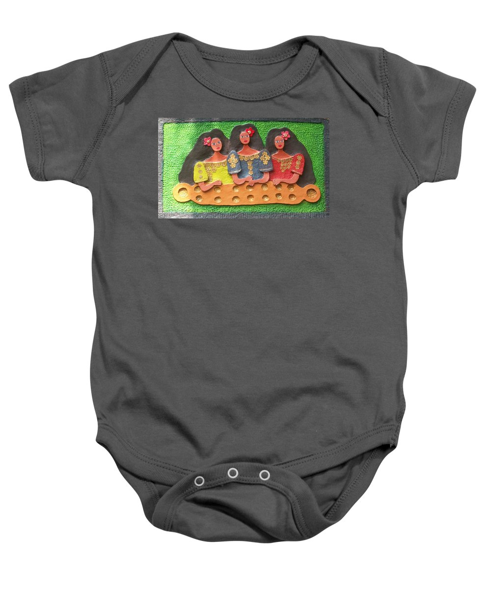 Handmade Papier Mache Artwork Baby Onesie featuring the mixed media Tres Marias by Otil Rotcod