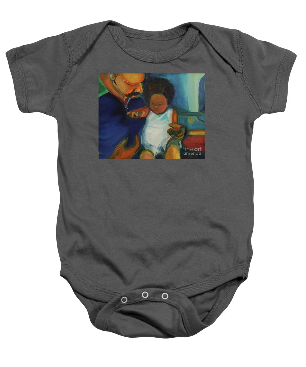 Oil Painting Baby Onesie featuring the painting Trina Baby by Daun Soden-Greene