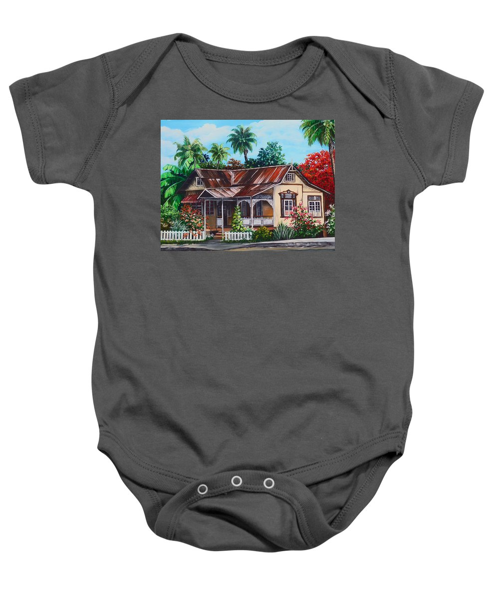 House Baby Onesie featuring the painting Trinidad House No 1 by Karin Dawn Kelshall- Best
