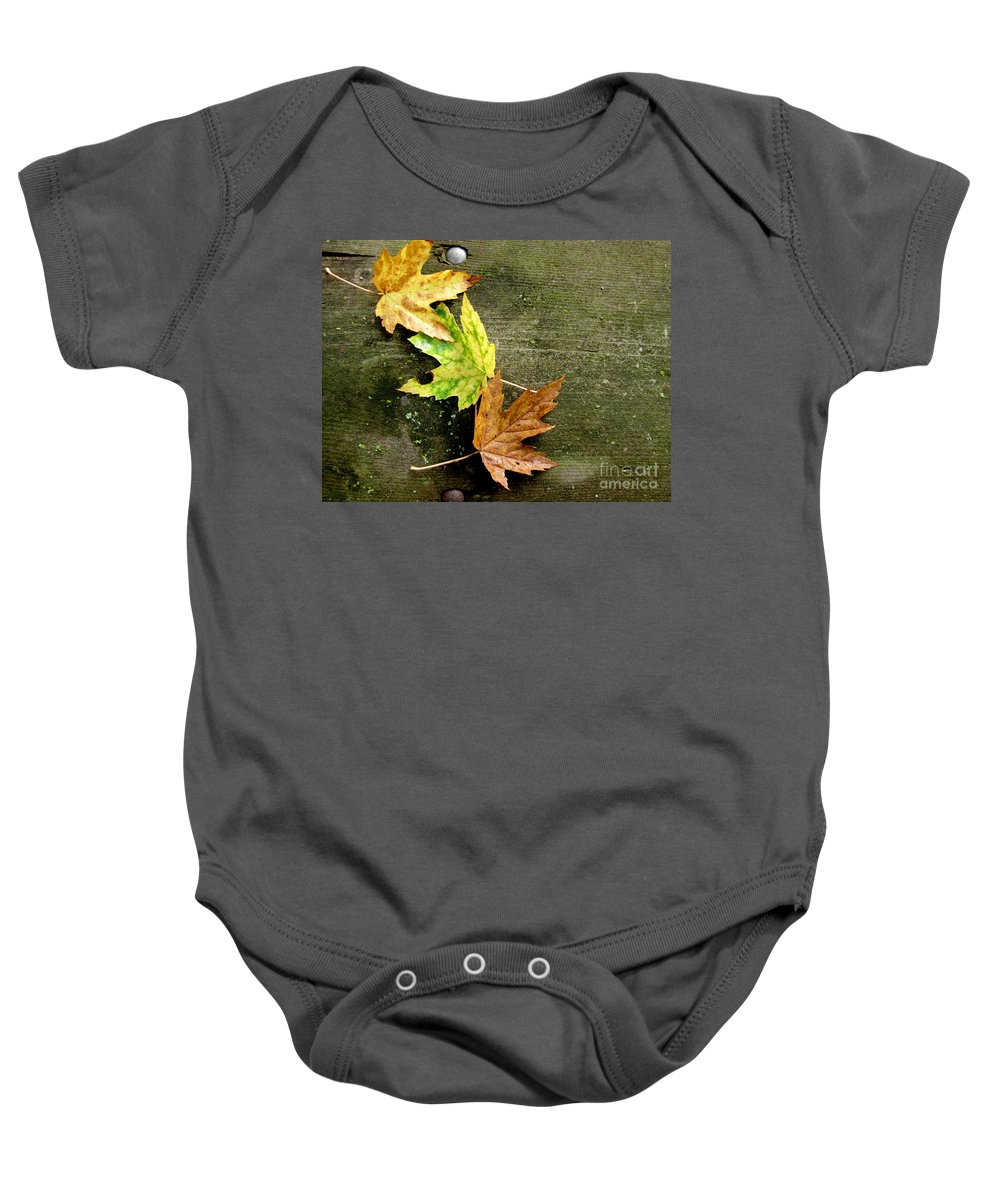 Autumn Leaves Baby Onesie featuring the photograph Trio Of Leaves by Marilyn Smith