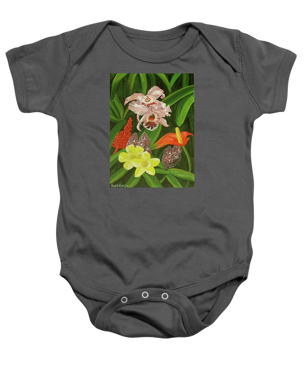 Orchid Baby Onesie featuring the painting Tropical Foliage by Frank Hunter