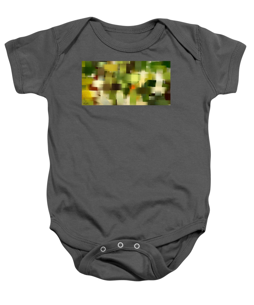 Green Baby Onesie featuring the painting Tropical Shades - Green Abstract Art by Lourry Legarde