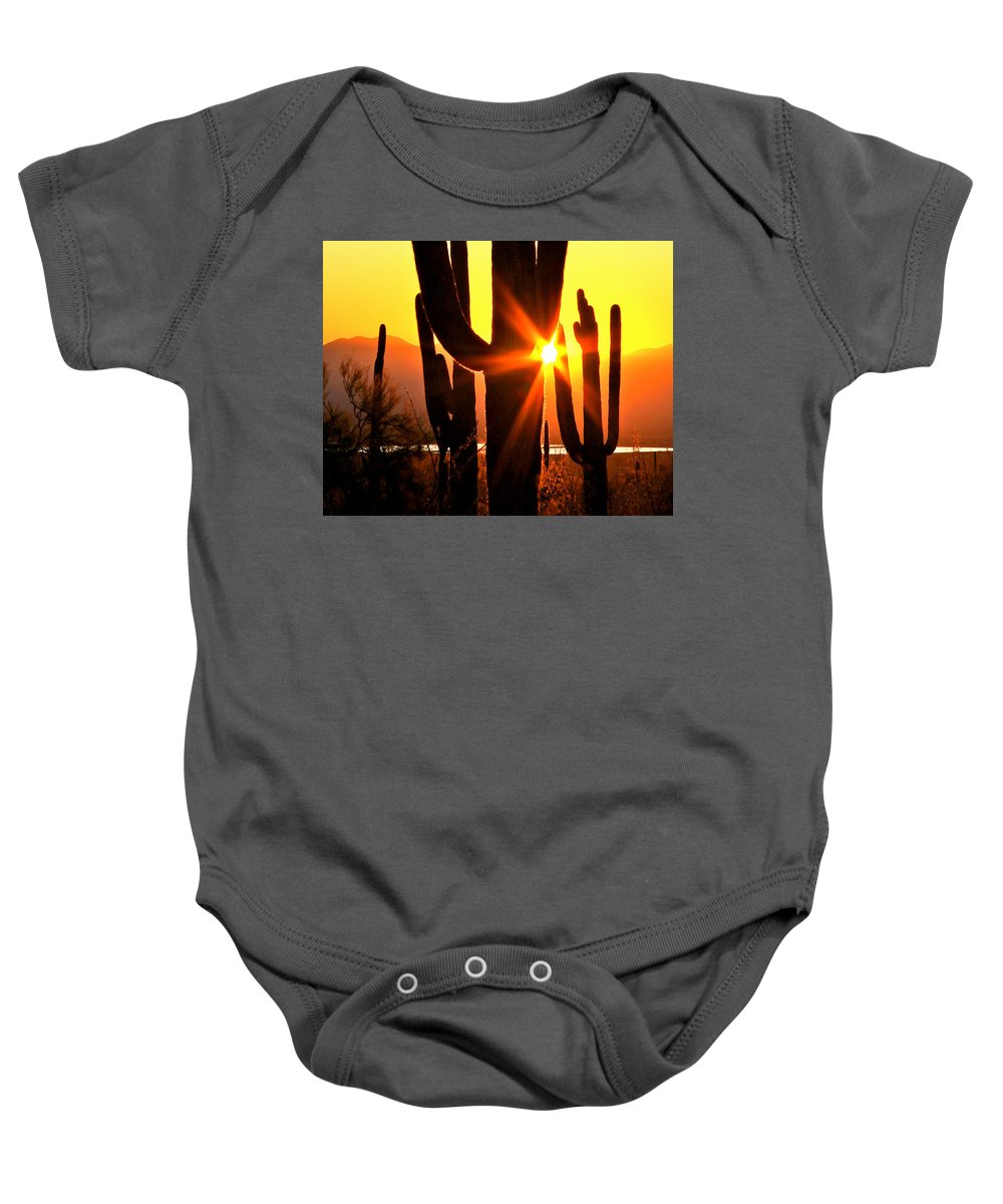 Arizona Baby Onesie featuring the photograph Tucson Sunset by Ed Riche