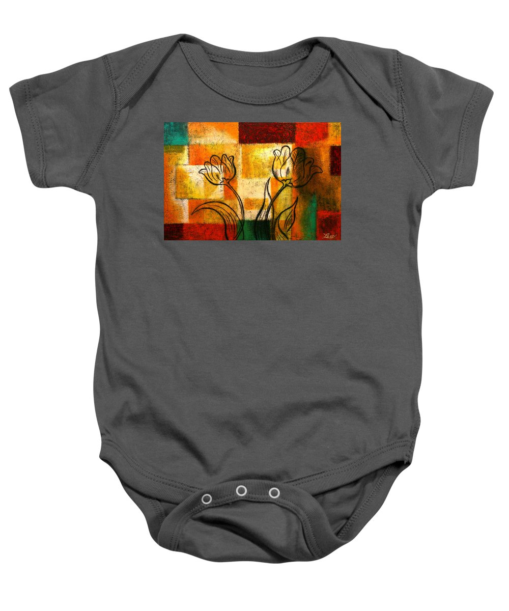 Flowers Paintings Baby Onesie featuring the painting Tulip by Leon Zernitsky