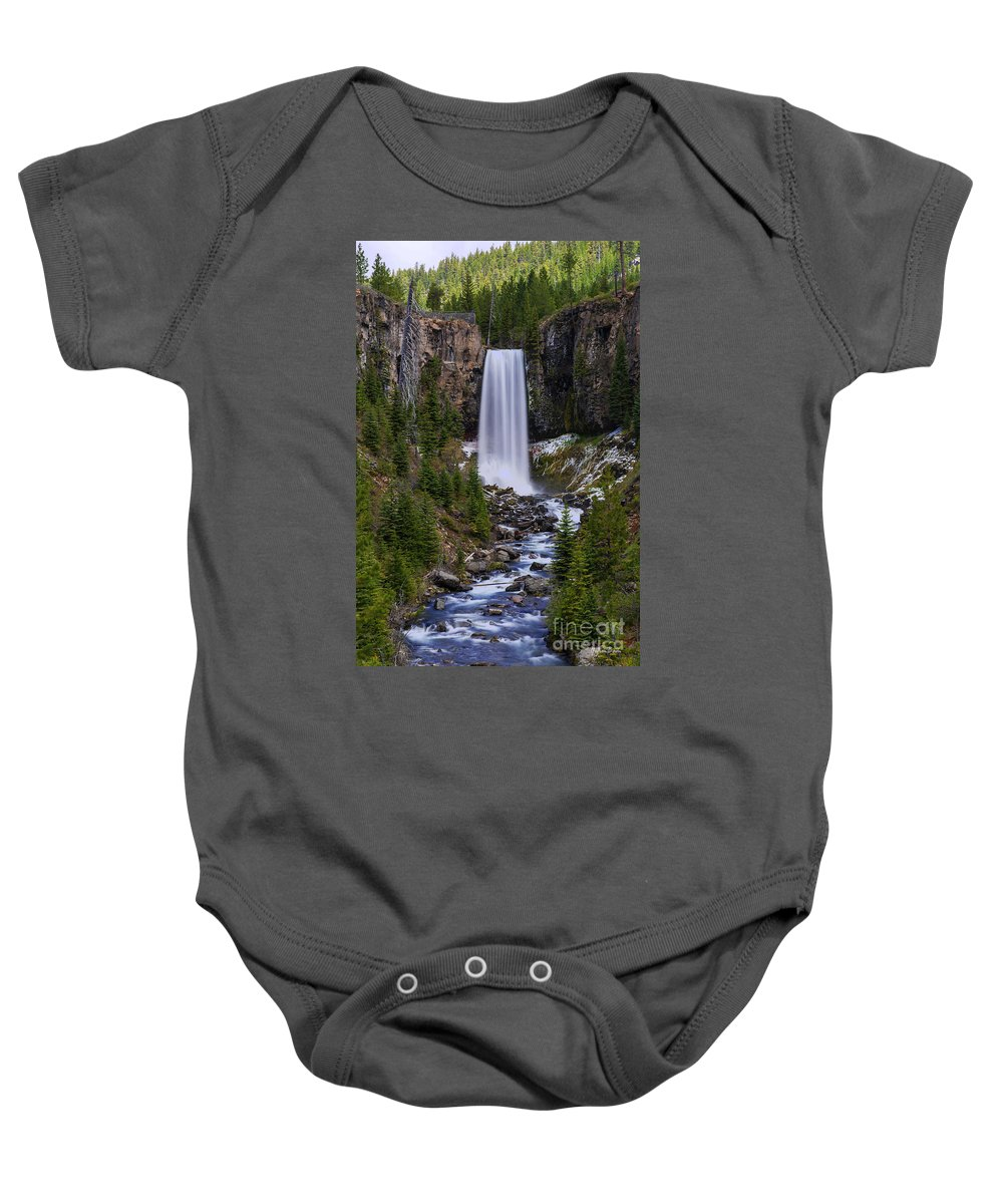 Tumalo Falls Baby Onesie featuring the photograph Tumalo Falls - Oregon by Yefim Bam