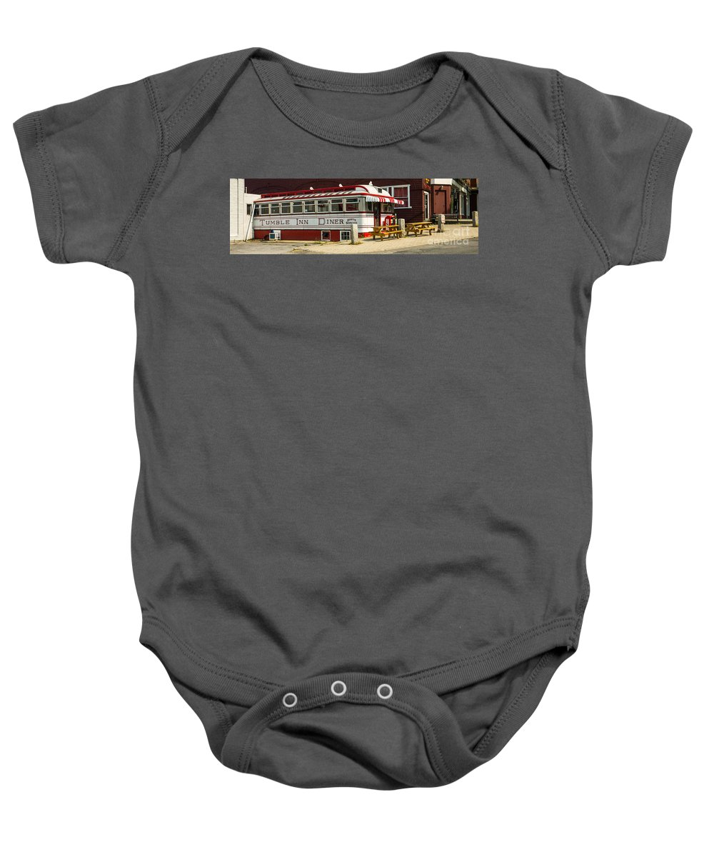 Diner Baby Onesie featuring the photograph Tumble Inn Diner Claremont Nh by Edward Fielding
