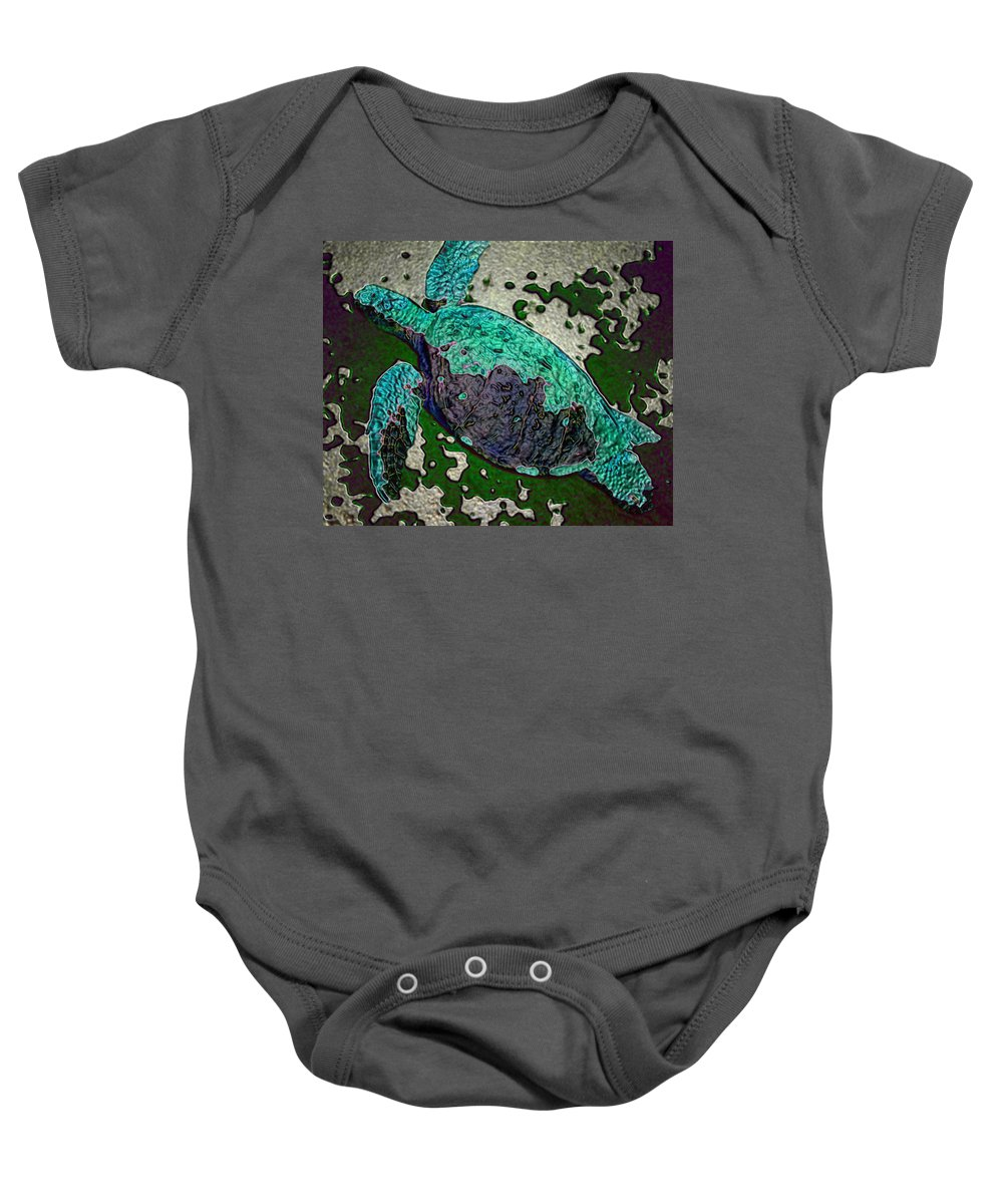 Baby Onesie featuring the digital art Turtle by John Holfinger