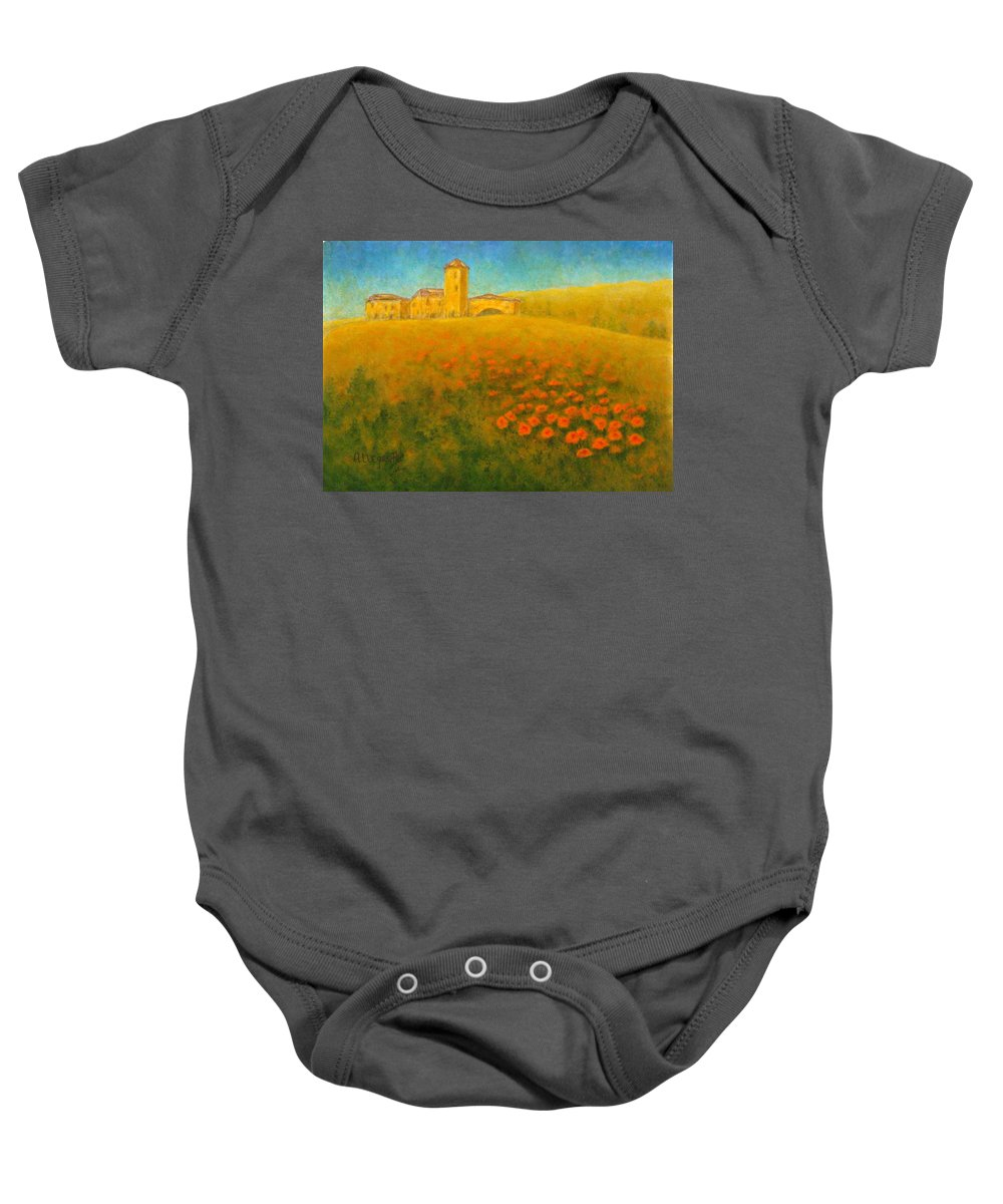 Allegretto Art Baby Onesie featuring the painting Tuscan Gold 1 by Pamela Allegretto