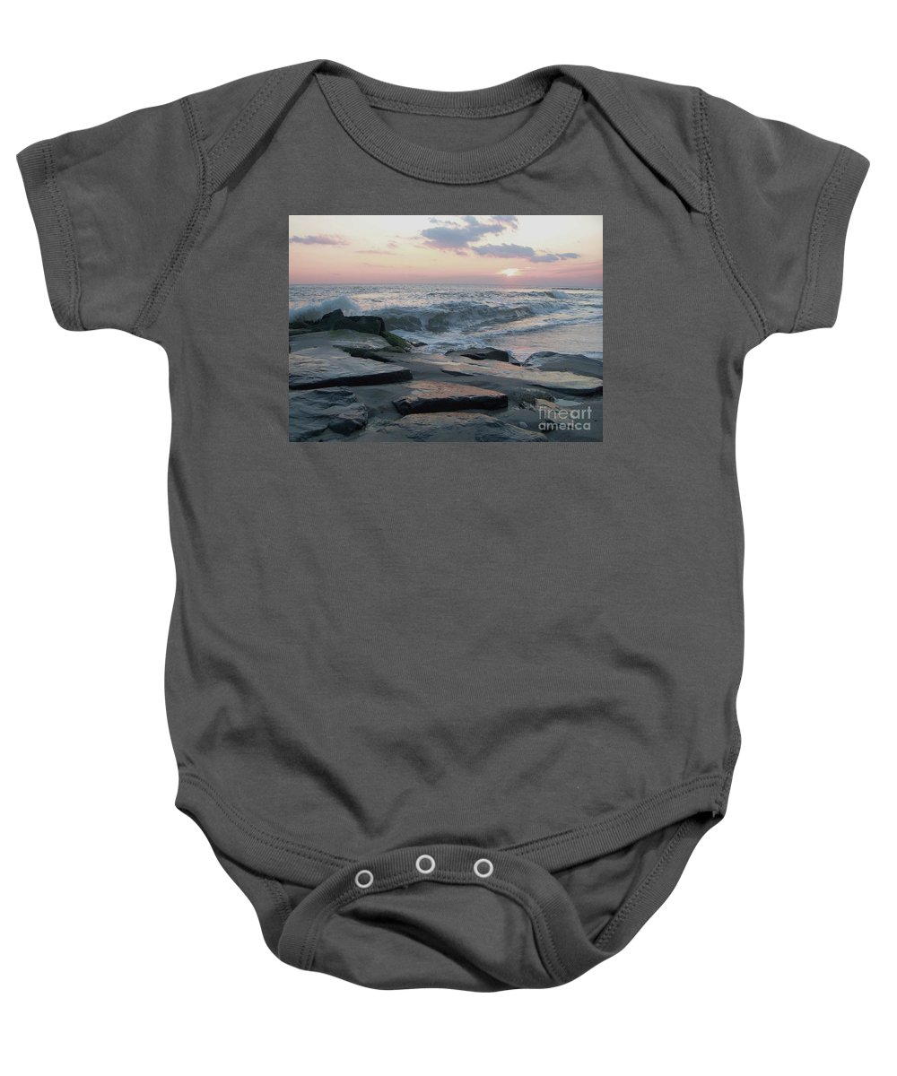 Twilight Baby Onesie featuring the photograph Twilight At Cape May In October by Eric Schiabor