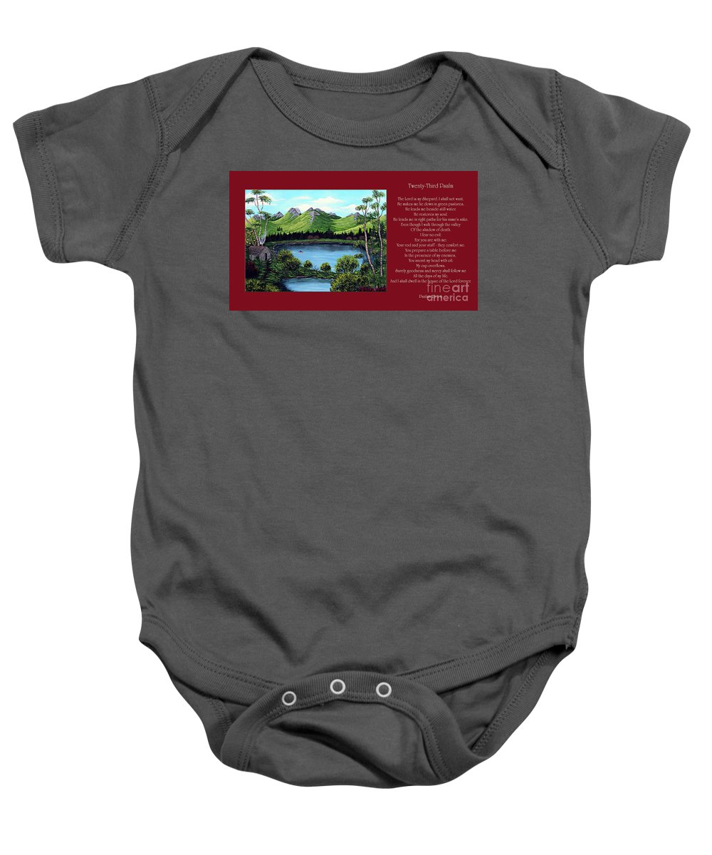 Twenty Third Psalm Baby Onesie featuring the painting Twin Ponds And 23 Psalm On Red Horizontal by Barbara Griffin