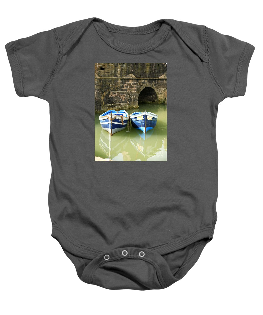 Africa Baby Onesie featuring the photograph Two Blue Fishing Boats by Deborah Benbrook
