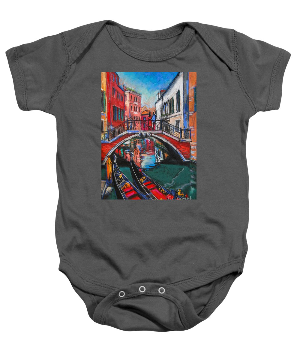 Two Gondolas In Venice Baby Onesie featuring the painting Two Gondolas In Venice by Mona Edulesco