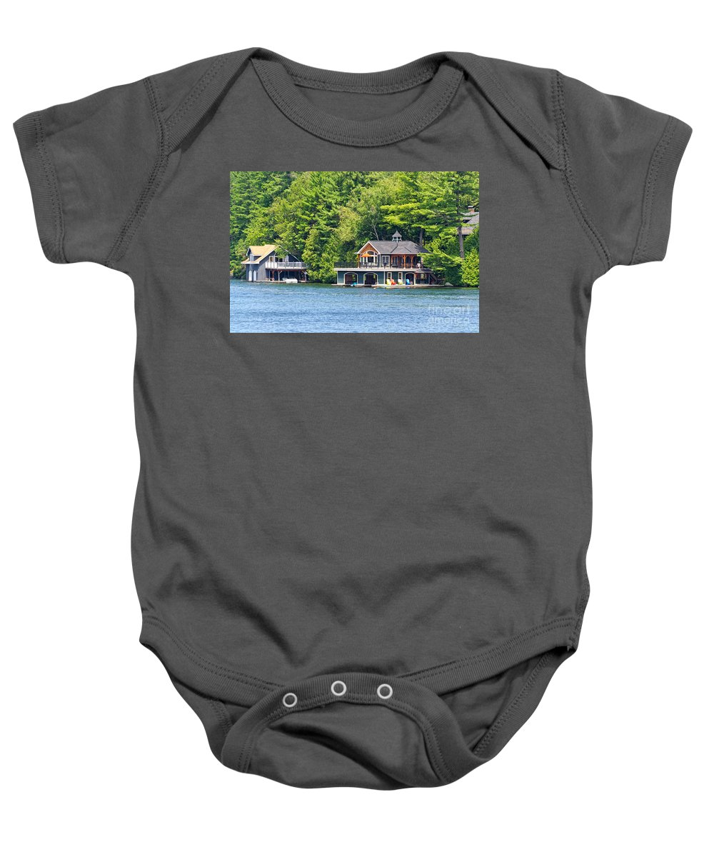 Two Baby Onesie featuring the photograph Two Luxury Boathouses by Les Palenik