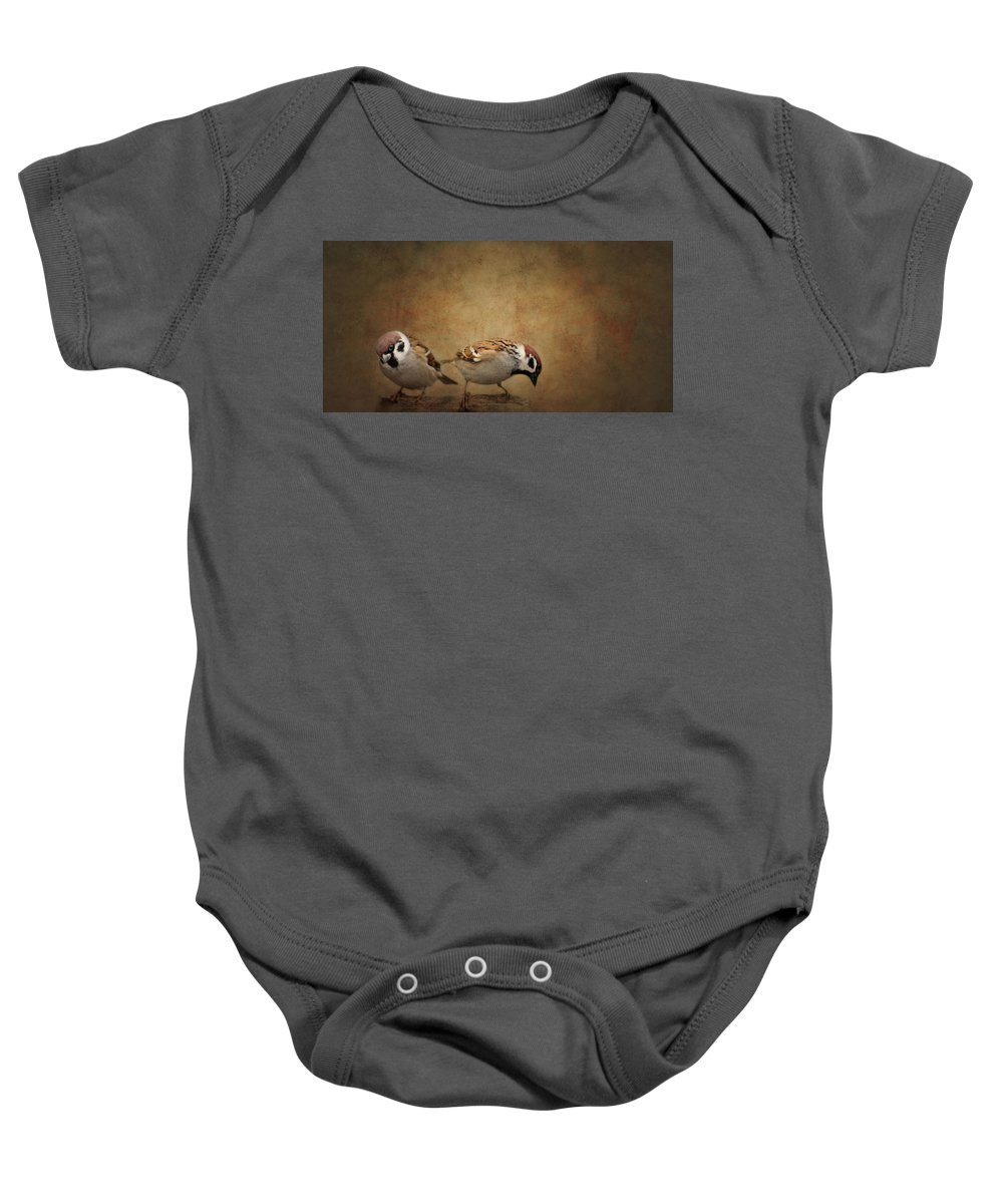 Flora Baby Onesie featuring the photograph Two Sparrows by Heike Hultsch