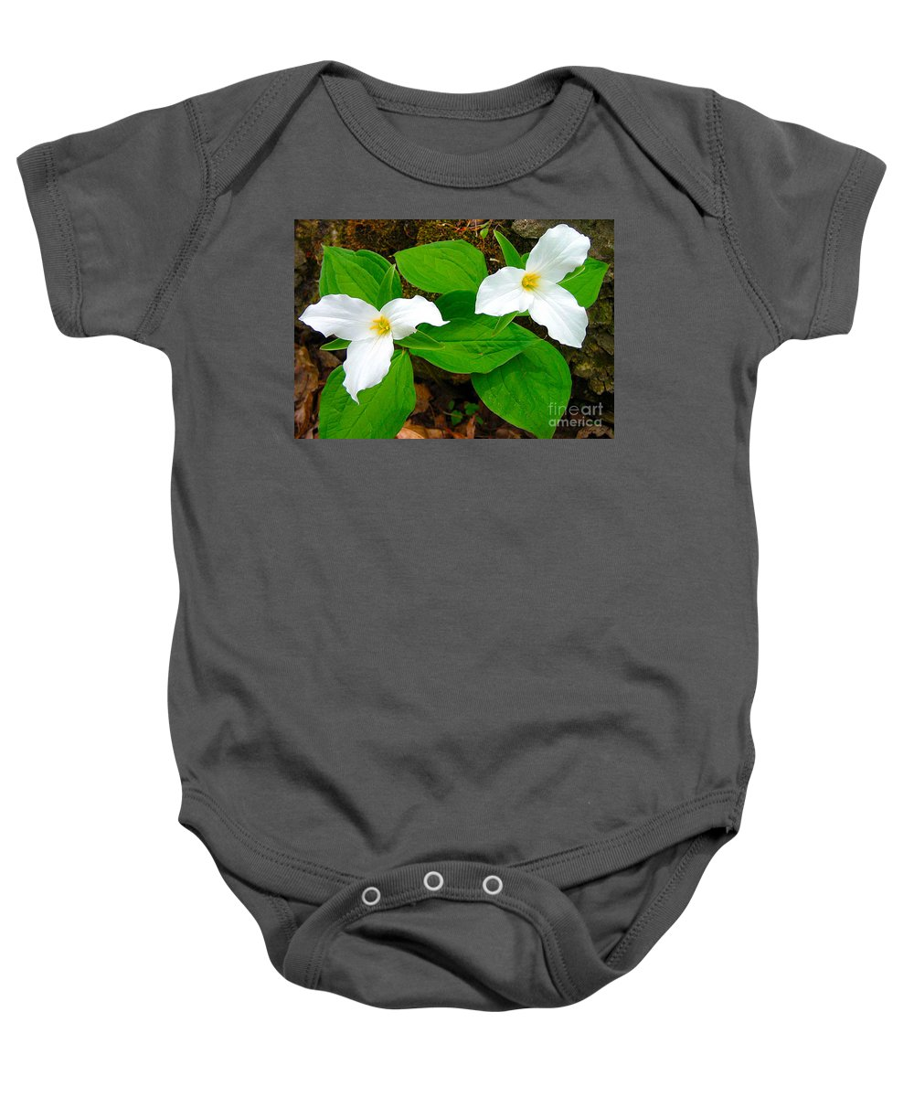 Ontario Baby Onesie featuring the photograph Two Trillium by Nina Silver
