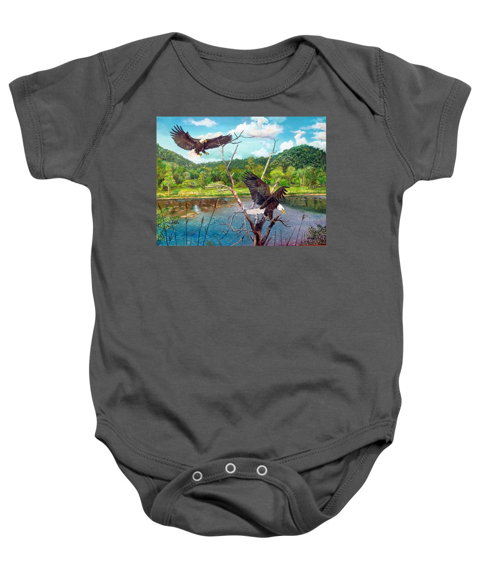 Eagle Baby Onesie featuring the painting Two's Company by Alvin Hepler