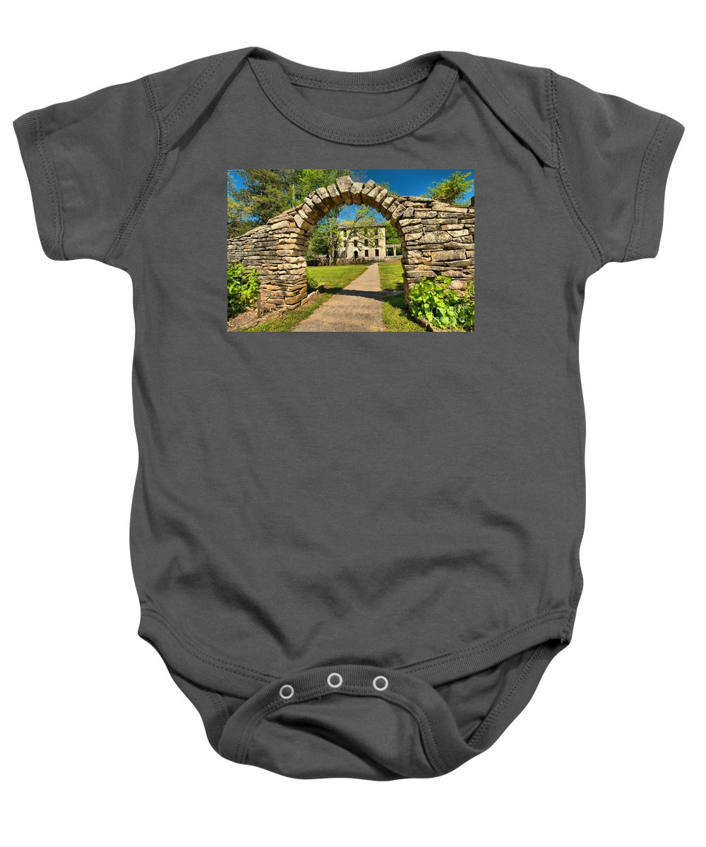 Spring Mill State Park Baby Onesie featuring the photograph Under The Arch by Adam Jewell