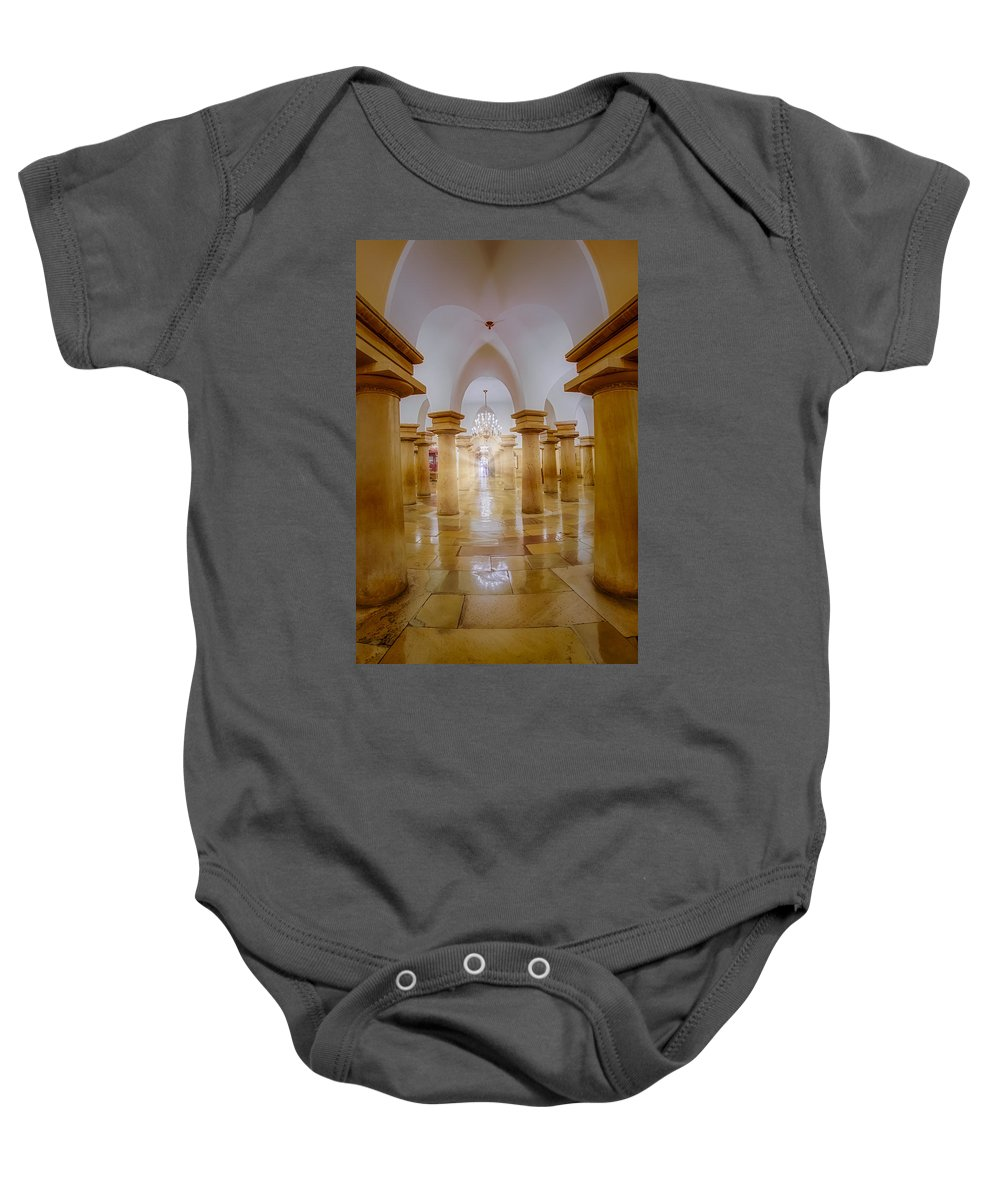 District Of Columbia Baby Onesie featuring the photograph United States Capitol Crypt by Susan Candelario