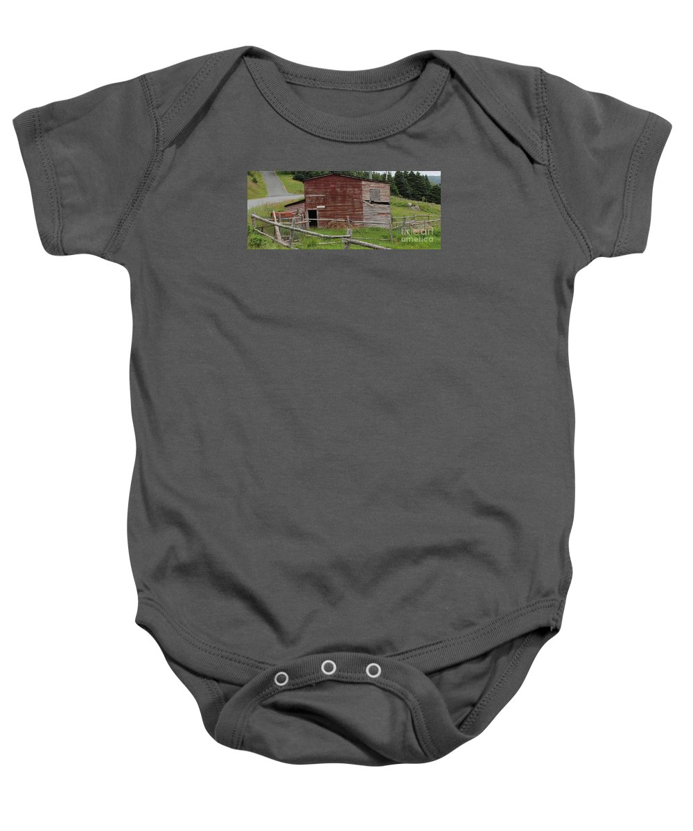 Unstable Lodgings Baby Onesie featuring the photograph Unstable Lodgings by Barbara Griffin
