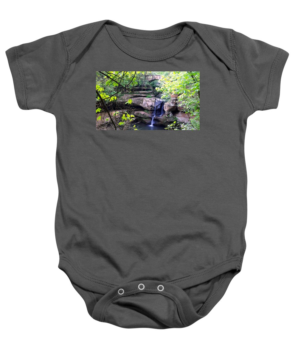 Optical Playground By Mp Ray Baby Onesie featuring the photograph Upper Old Mans Cave Falls by Optical Playground By MP Ray