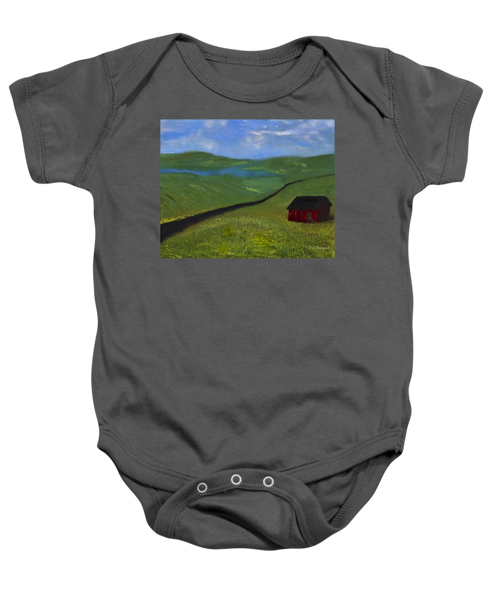 Farm Baby Onesie featuring the painting Upstate Lakes Region by Dick Bourgault