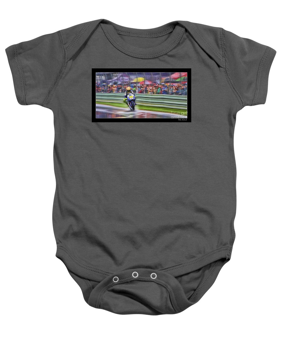Valentino Rossi Baby Onesie featuring the photograph Valentino Rossi Fans Line The Fence by Blake Richards