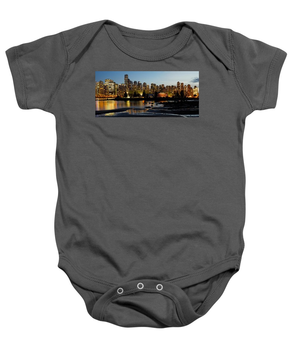 Vancouver Baby Onesie featuring the photograph Vancouver Bc City Skyline And Deadman's Island by Jit Lim