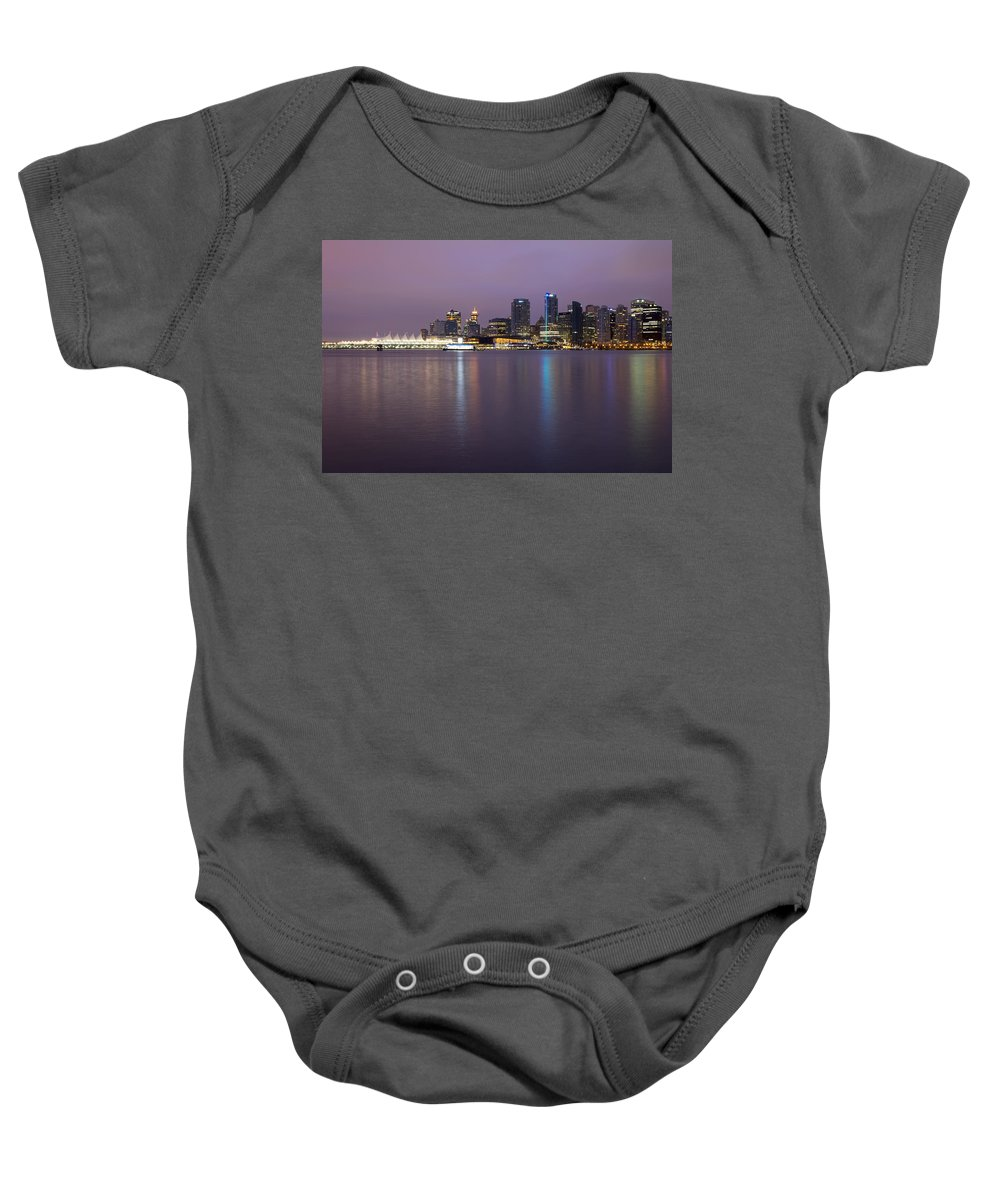 Vancouver Baby Onesie featuring the photograph Vancouver Bc City Skyline At Dawn by Jit Lim
