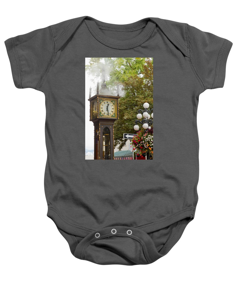 Vancouver Baby Onesie featuring the photograph Vancouver Bc Historic Gastown Steam Clock by Jit Lim