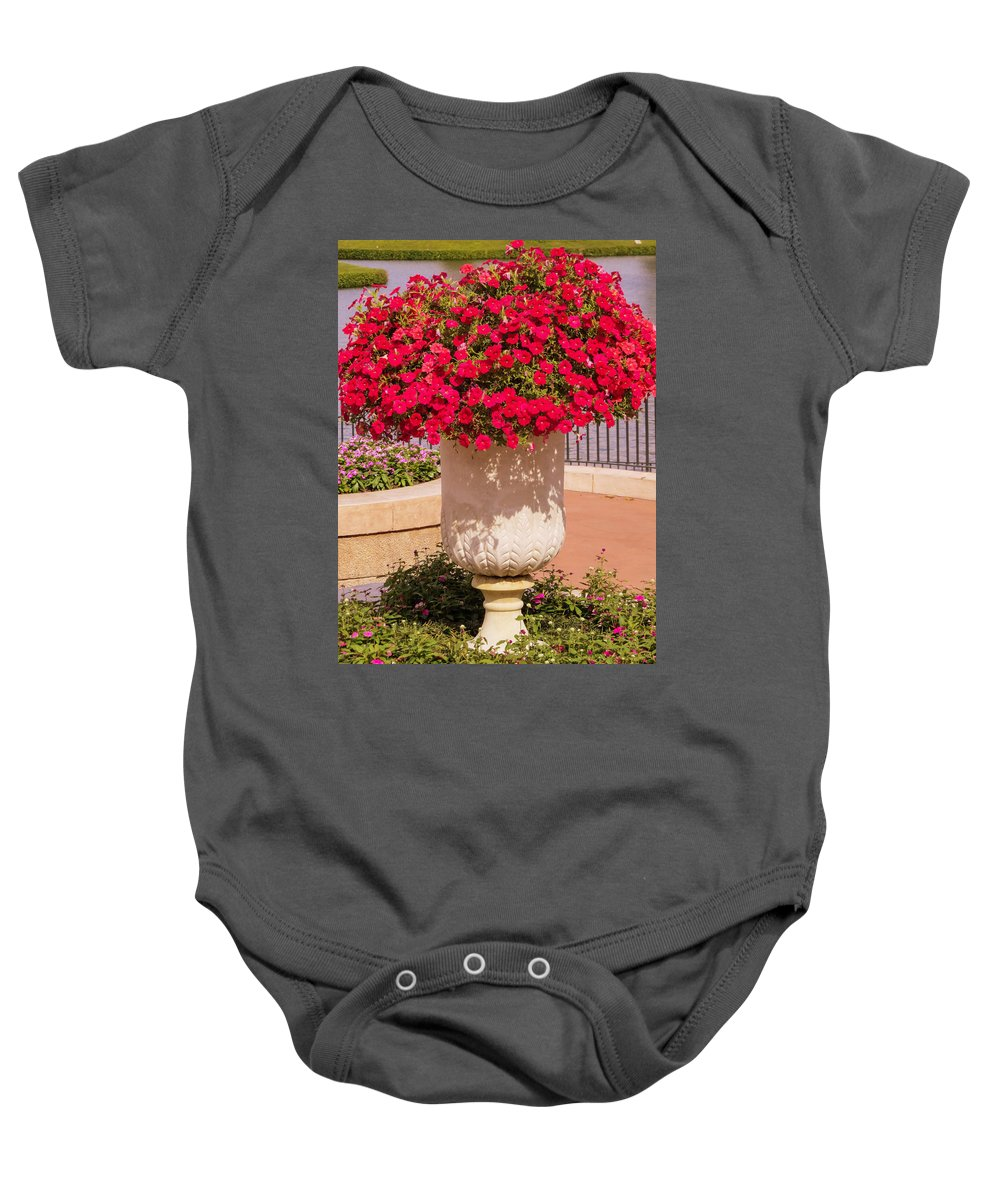 Petunia Baby Onesie featuring the photograph Vase Of Petunias by Zina Stromberg