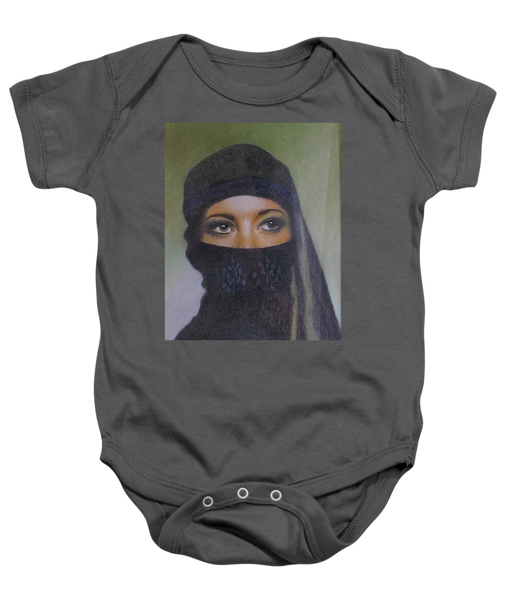 Character Baby Onesie featuring the pastel Veiled Beauty by Margaret Riley