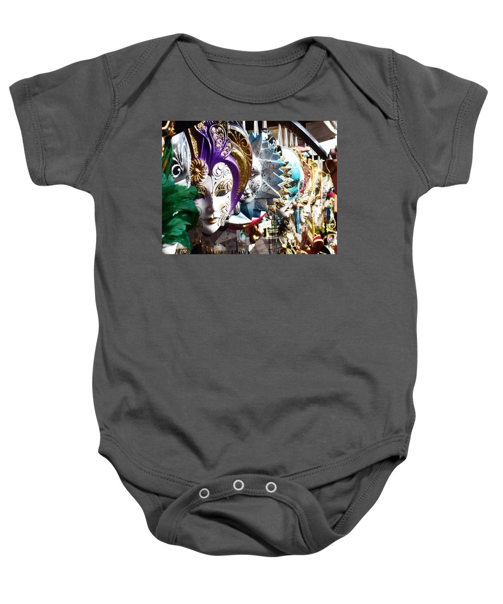 Venetian Masks Baby Onesie featuring the photograph Venetian Masks 1 by Ellen Henneke