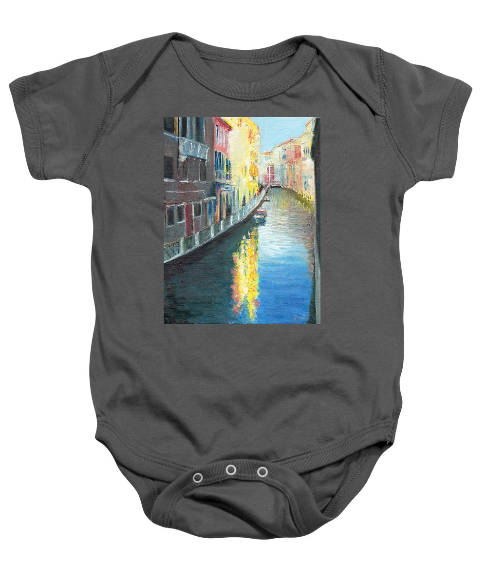 Venice Baby Onesie featuring the painting Venice Sunshine by Dai Wynn