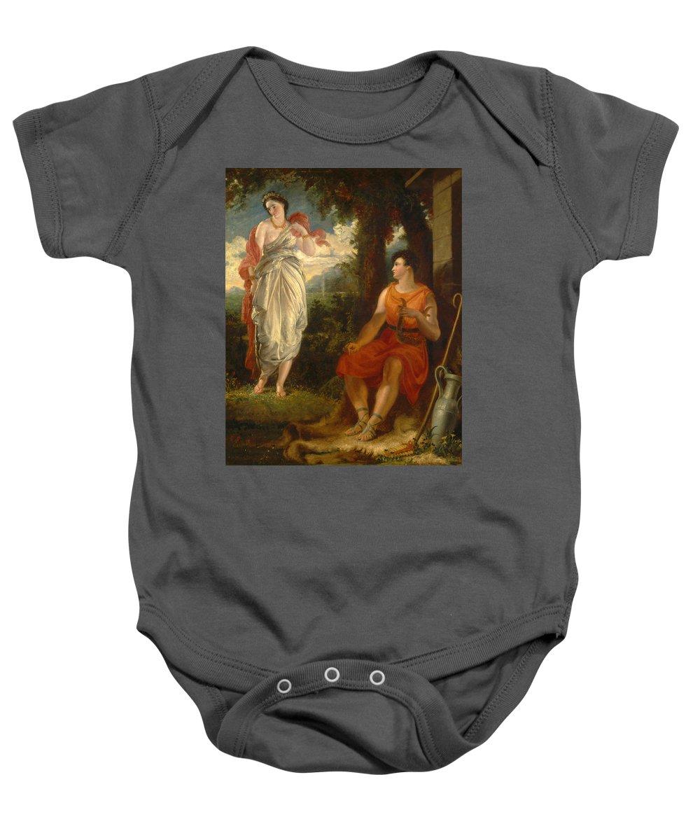 Benjamin Robert Haydon Baby Onesie featuring the painting Venus And Anchises by Benjamin Robert Haydon
